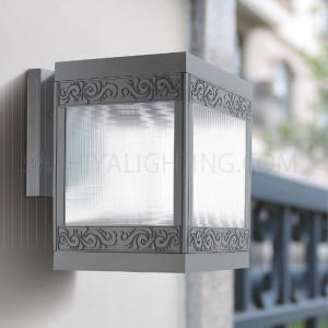 Indoor/Outdoor Wall Light 6601- E27 Glass Diffuser - Dark Grey/Silver