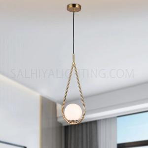 Modern Che Single Opal Glass Ball Vintage Hoop Pendant Light  - Bronze