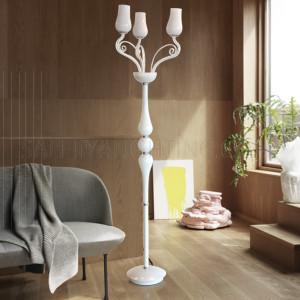 Glass Stand Floor Lamp-ML13009001-3xE14-White