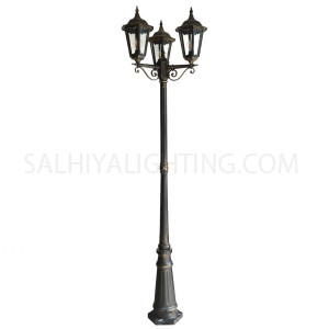 Pole Light 2.3M 3 Heads 3 x E27 - Black Gold