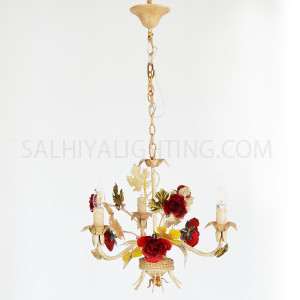 Flower Chandelier 0862 3 Arms - Beige/Red