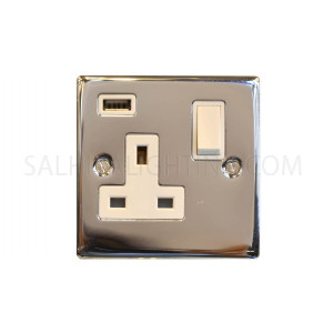 Switch with USB 1Gang USB 13A T350EB - Satin