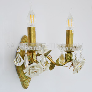 Antique Candle Flower Wall Light W0895-2 White