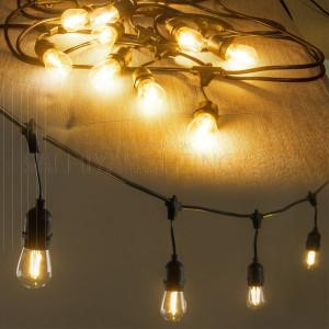10M Festoon Lights Amber - E27 Bulb