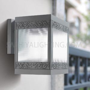 Outdoor Wall Light 6601- E27 Glass Diffuser - Dark Grey/Silver