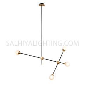 Modern Stylish 4 Sputnik Hanging Light MD21364 - Antique Brass Branches Matt Black