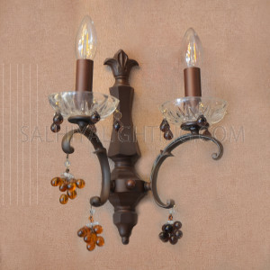 Indoor Crystal Candle Wall Light RY95363 - Brown