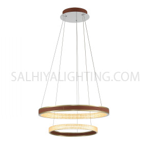 Modern LED 2 Round Rings Pendant Light MD60189-700 -Antique Brass