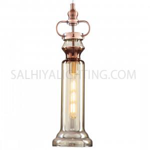 Modern Liza Glass  Pendant Light D1805 - Rose Red / Amber  Metal - Glass