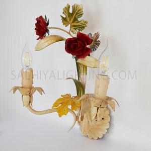 Indoor Flower Wall Light 0862 2 Arms - Beige/Red