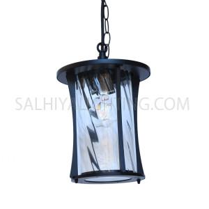 Outdoor Hanging Light 1715 Rotating Glass Diffuser - Matt Black