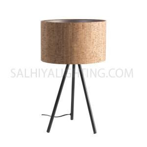 Sleek Tripod Modern Lauraine Table Lamp -  Matte Black / Cork