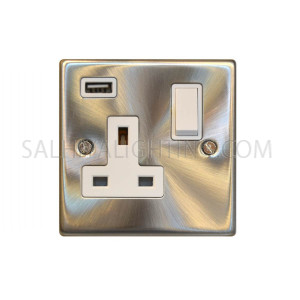 Switch with USB 1Gang USB 13A T350GB - Satin