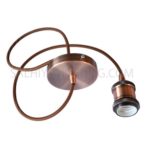 Indoor Veronica Suspension Pendant Retro Style Metal Hanging Light - Rose Gold