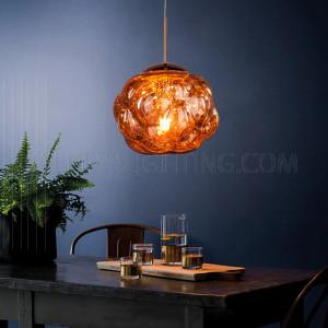 الأضاءة الداخلية - إضاءة معلقة حديثة - اللون وردي ذهبي- زجاج D3870-L-RGD-E27-1