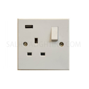 مأخذ كهربائي - مأخذ واحد + مأخذ يو أس بي - اللون أبيض - T350