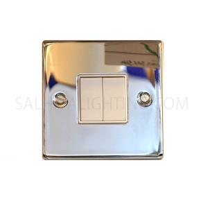 المفتاح الكهربائي - عدد الكبسات 2  - 10 أمبير - اللون فضي لامع - T304EB