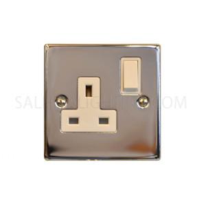مأخذ للكهرباء -  13 أمبير- اللون فضي لامع - T405EB